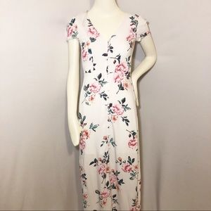 Charlotte Russe white floral dress button up front